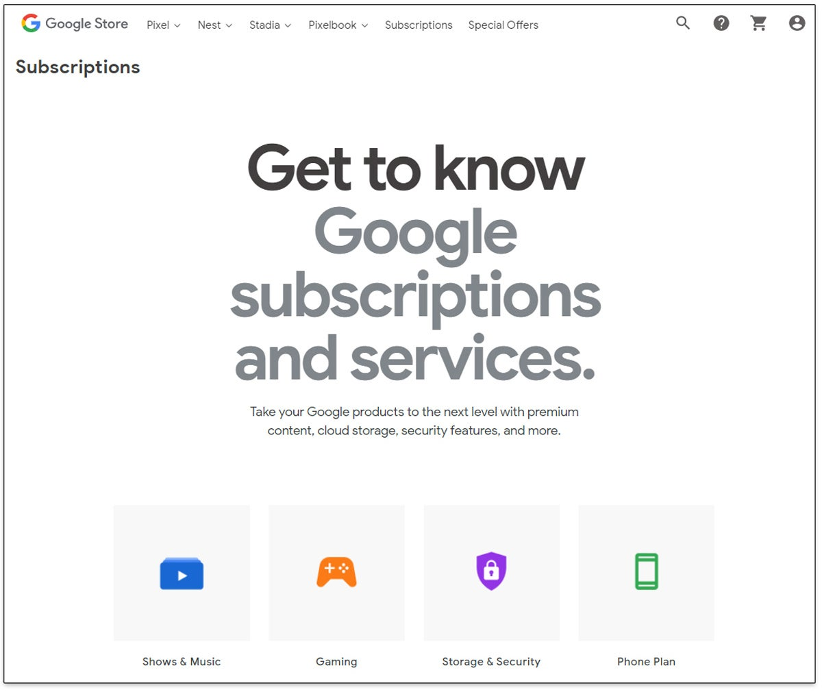 Google Store Subscriptions