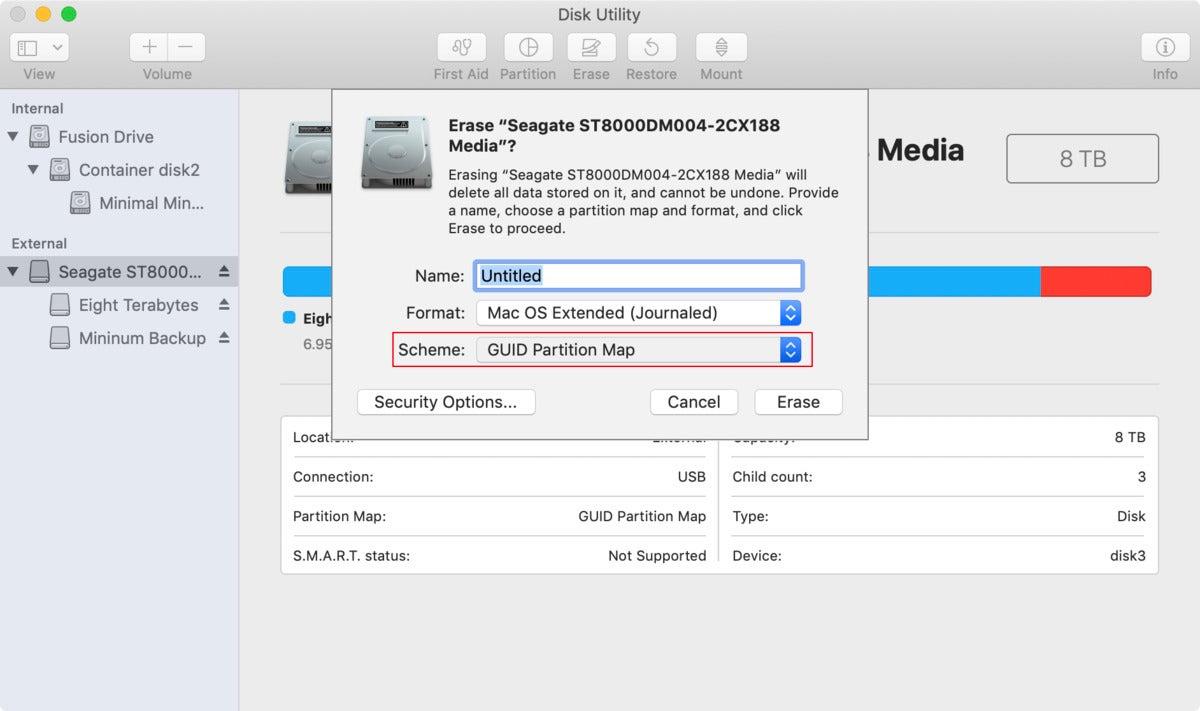 mac911 disk utility scheme highlighted