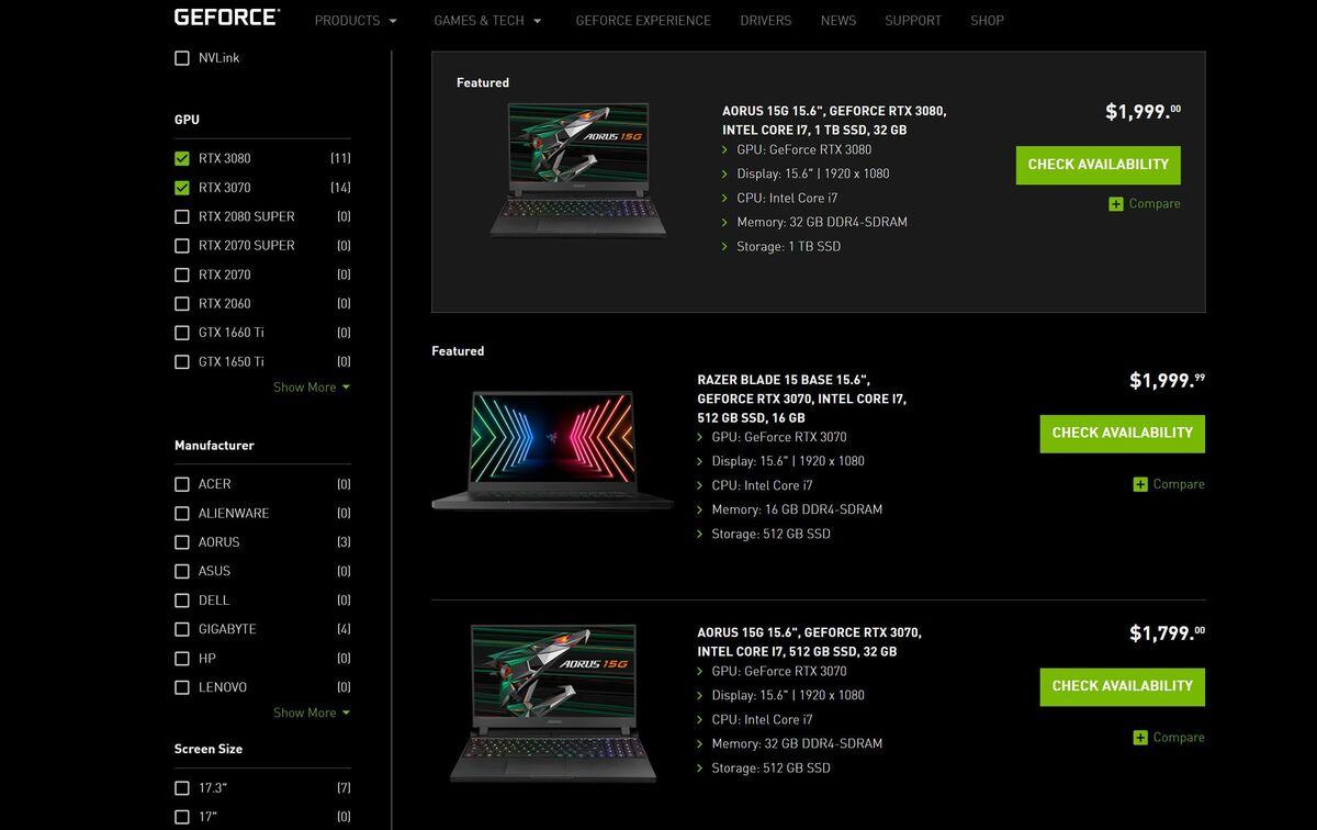 لپ تاپ های nvidia geforce rtx 30