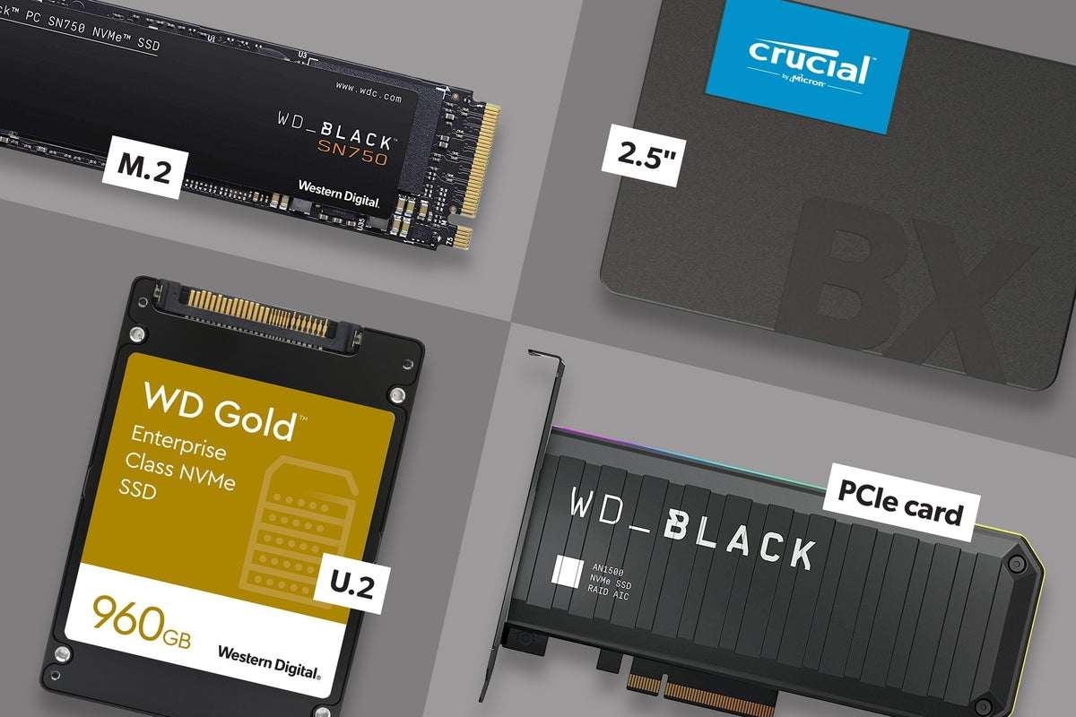 m.2, 2.5', U.2, and PCIe card ssd form factors shown