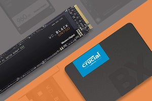 variety of ssd form factors on a two-tone colored background