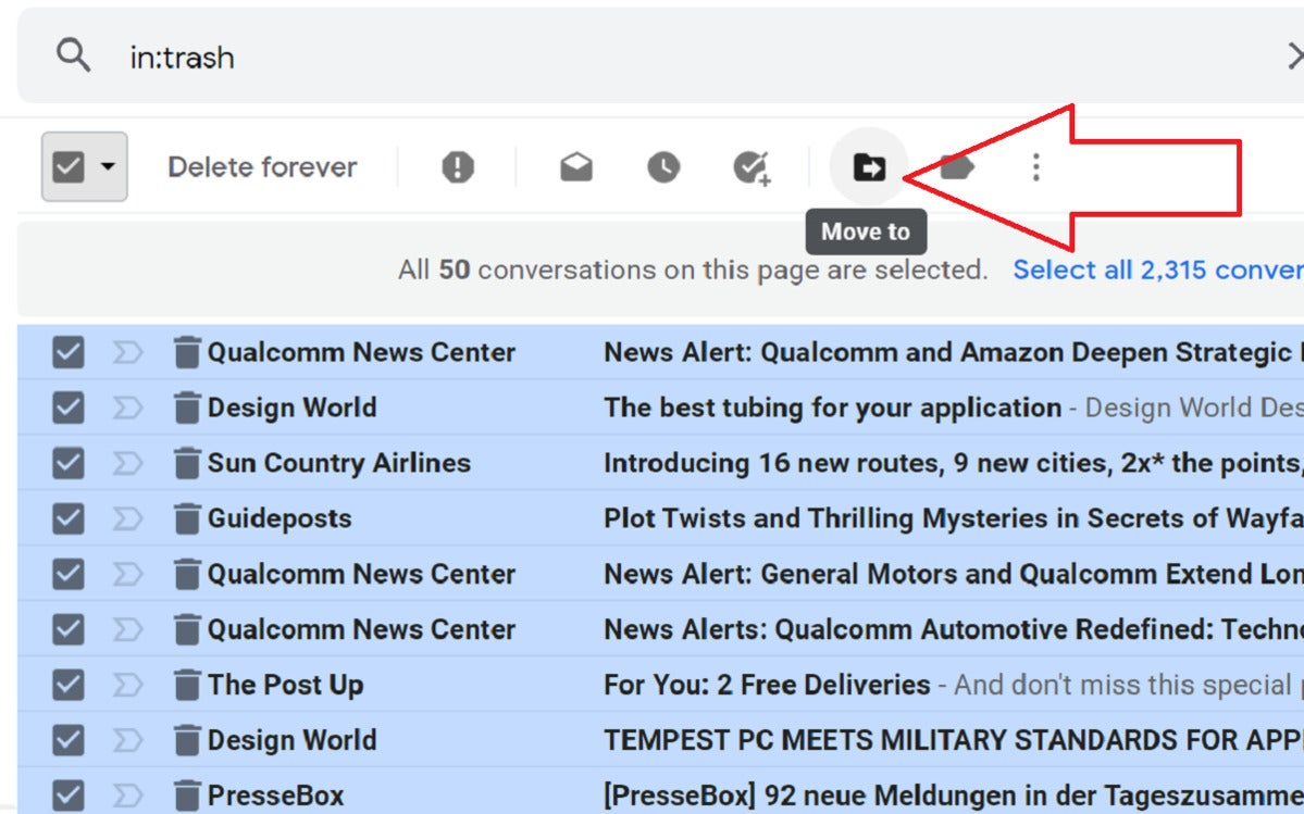 purge your gmail email move folder