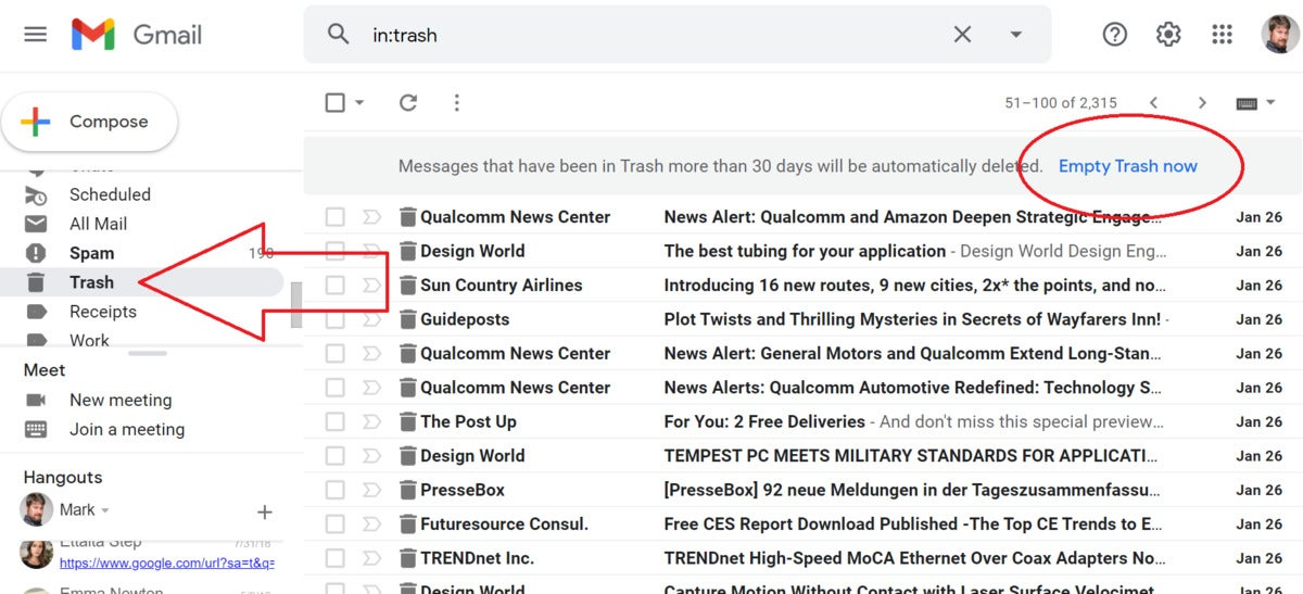 purging email from gmail trash edit