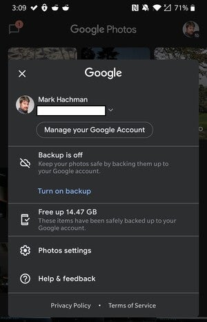 Google Photos settings android phone