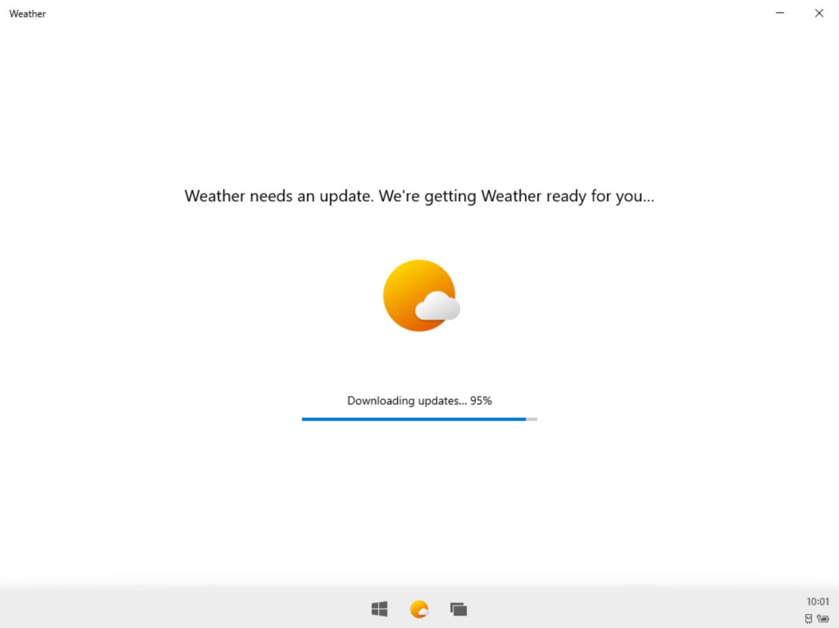Microsoft Windows 10X weather installation