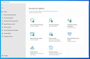 windows security dashboard windows 10