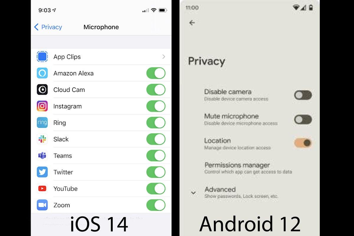 تنظیمات حریم خصوصی Android 12 نشت