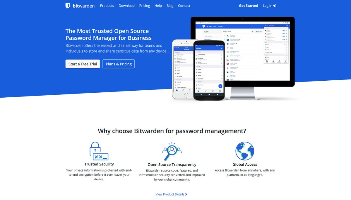 Bitwarden homepage