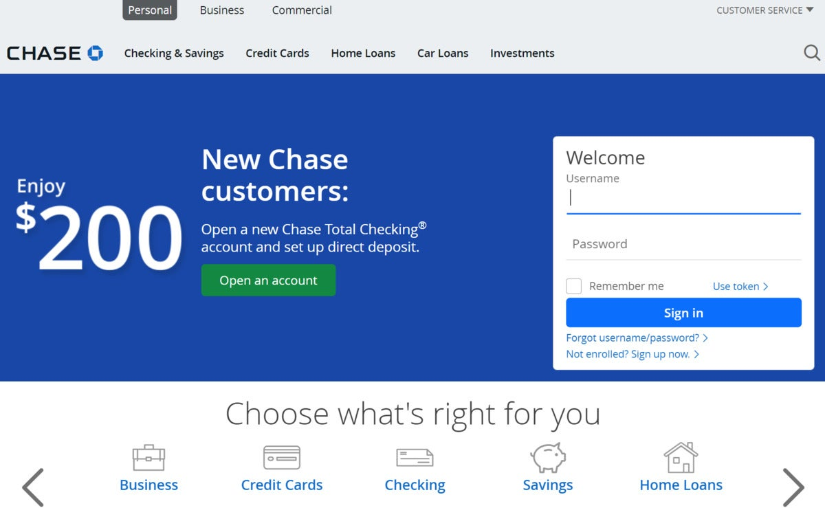 chase manhattan online login