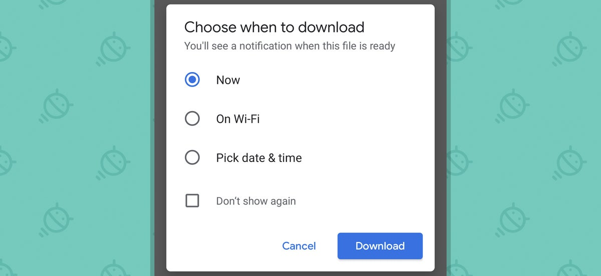 Chrome Android Settings: Download