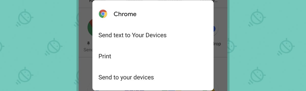 Chrome Android Sharing Settings: Send text (choices)