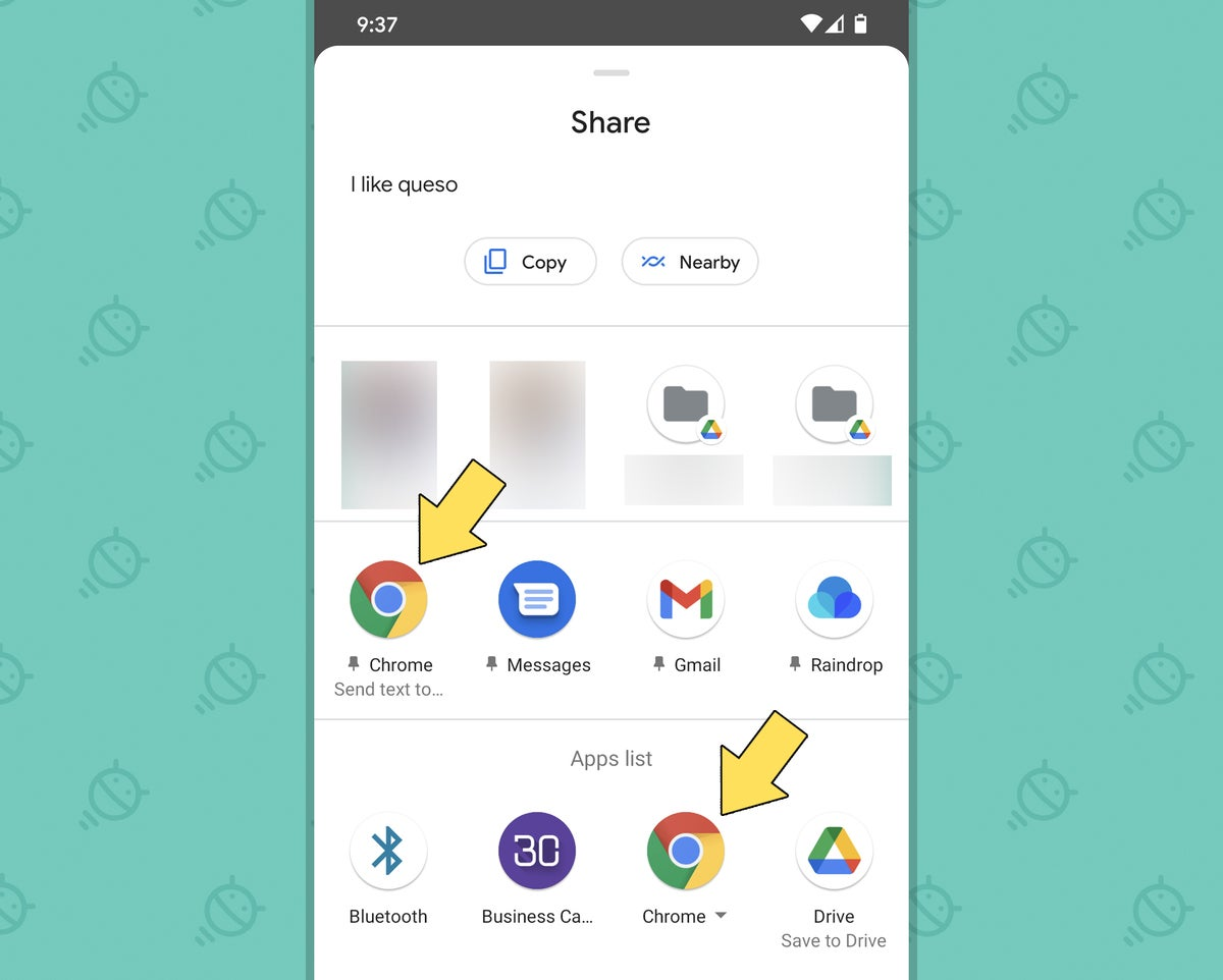 Chrome Android Sharing Settings: Send text (icon)