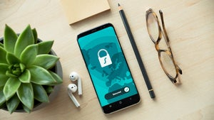 Cell phone with stock image of password manager on it