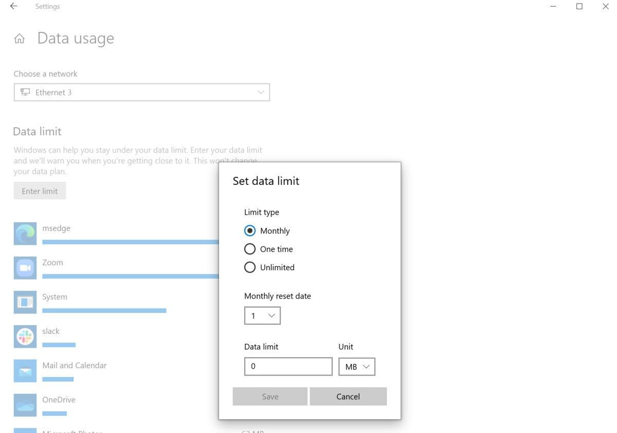 data cap windows 10 establish data limit