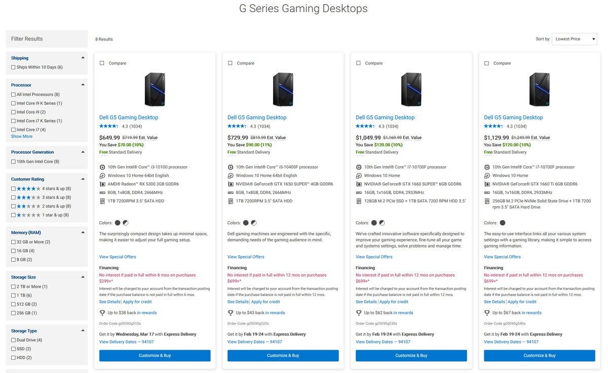 دل G5 730 $ پیکربندی با تراشه Core i5 و GTX 1650 Super
