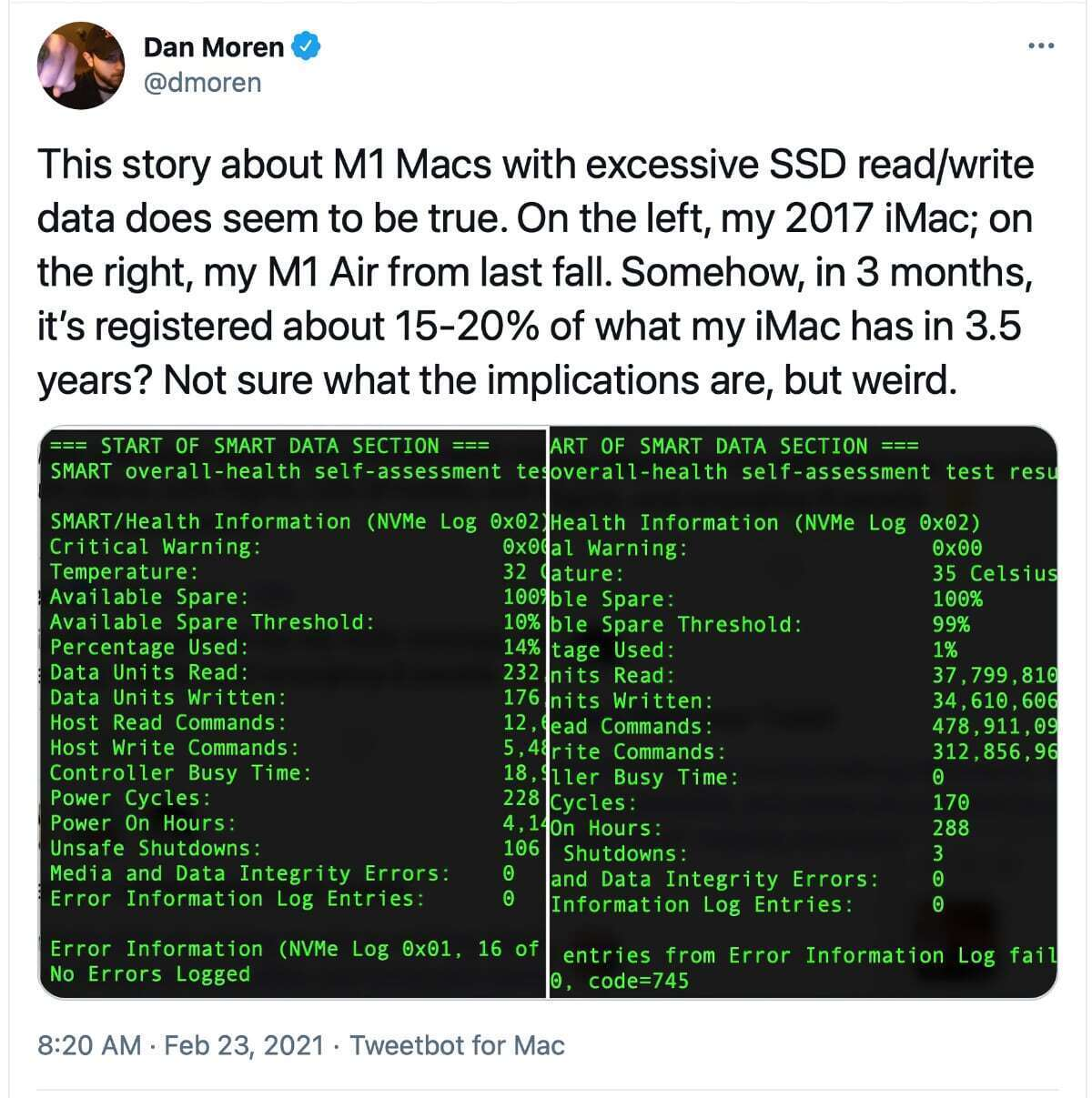 dmoren توییتر m1 mac ssd