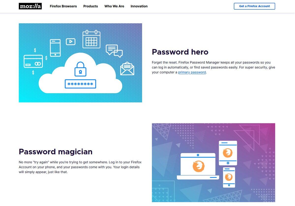 صفحه فرود Firefox Manager Manager