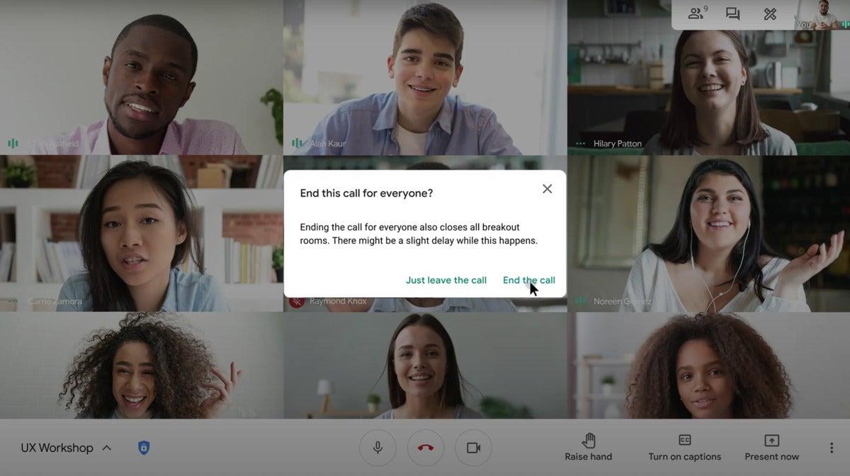 google meet end call