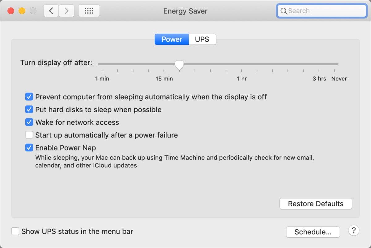 mac911 energy saver mojave