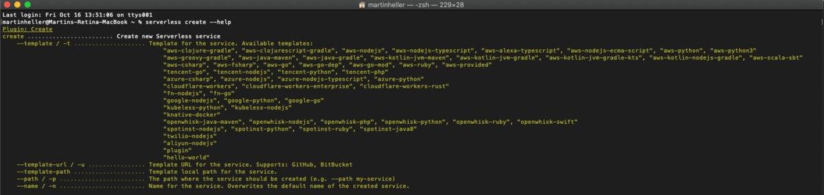 serverless framework templates