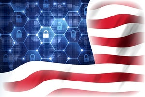 Unitd States cybersecurity   >   U.S. flag with a digital network of locks instead of stars
