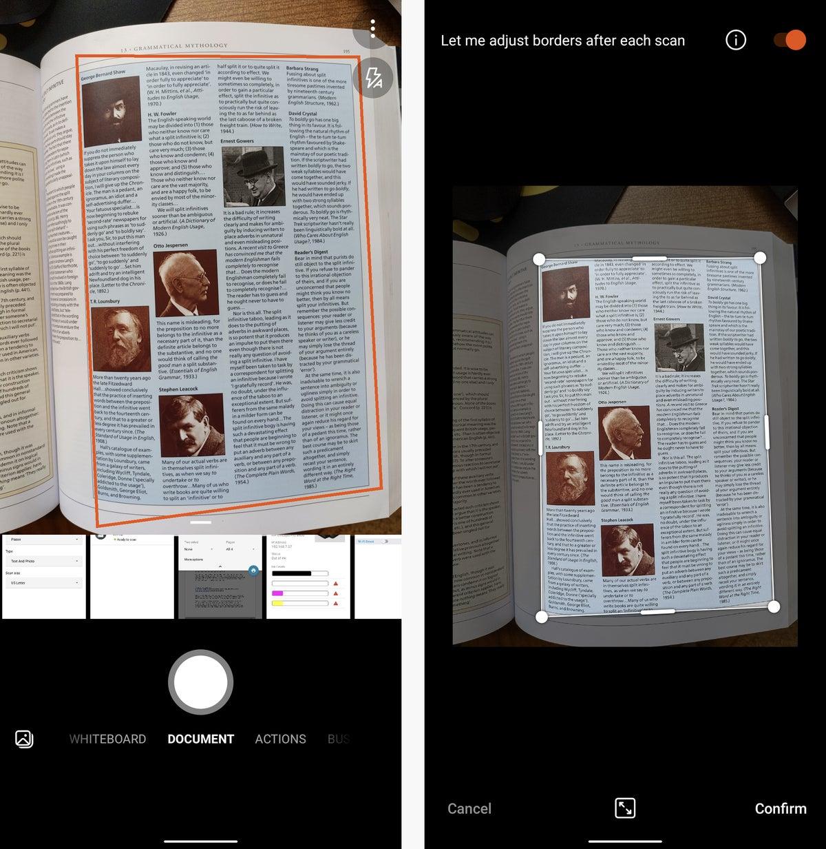 Lente microsoft de escaneo de impresión android