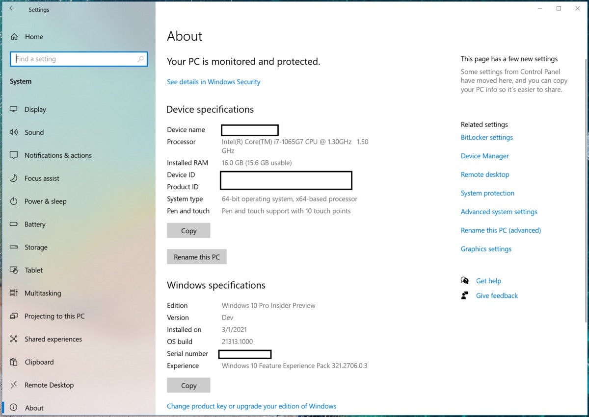 Change your PC name in Windows 10