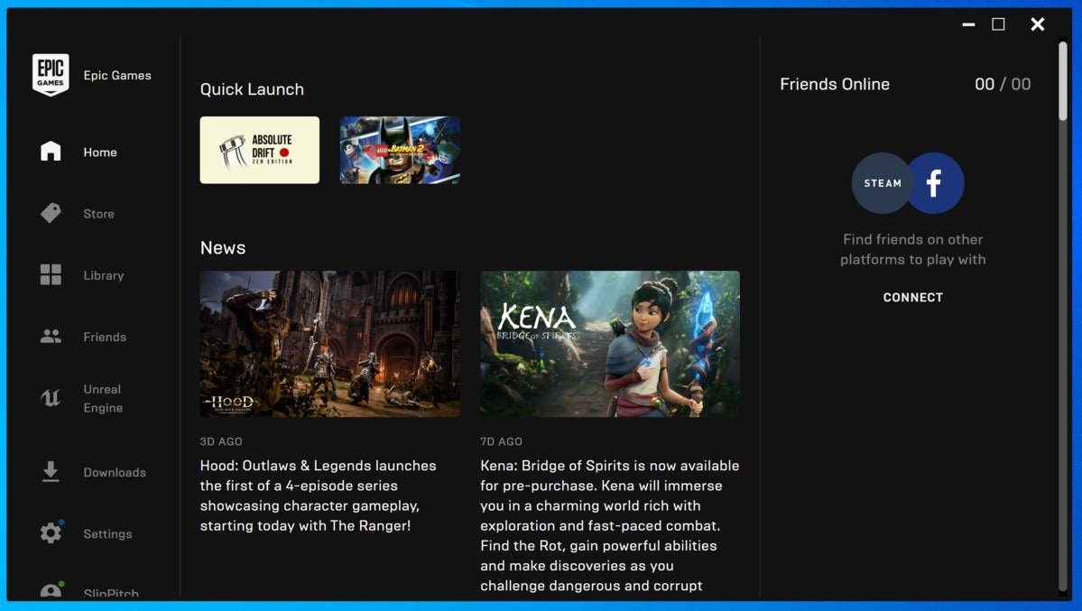 Epic games store startscherm