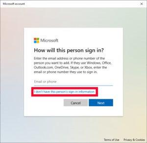 پنجره حساب Microsoft