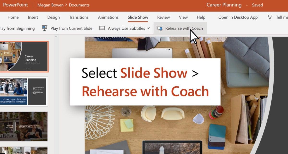 Microsoft powerpoint coach select coach