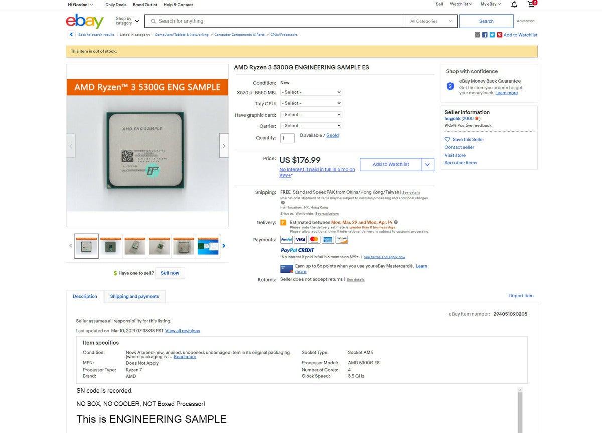 ryzen 3 5300 ebay