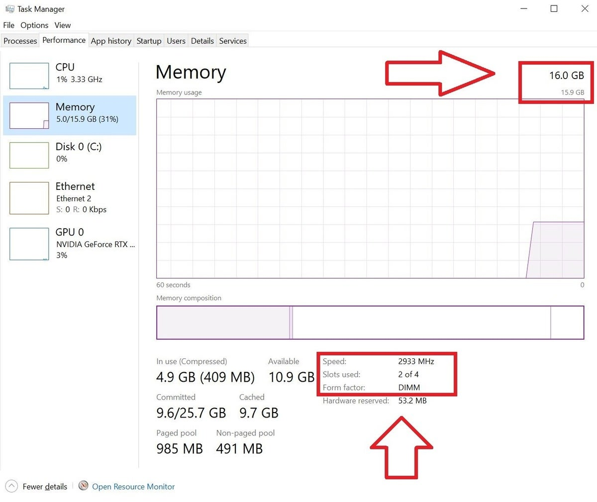 task manager memory