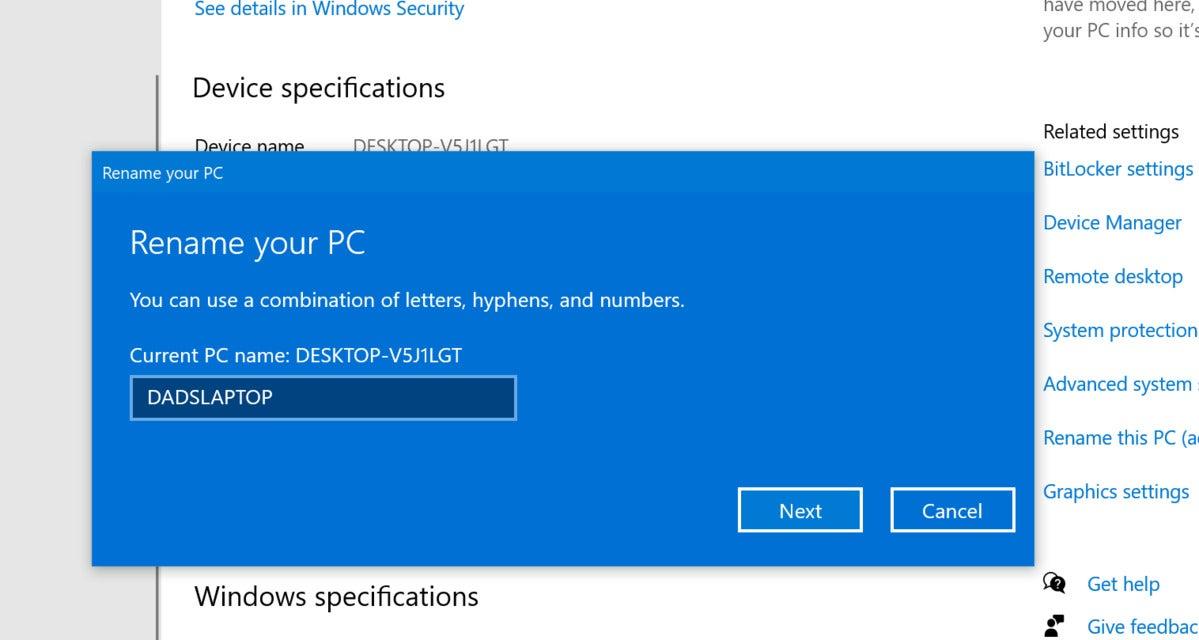 windows 10 rename your pc