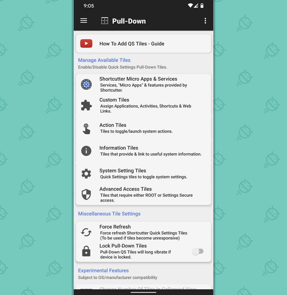 Android Quick Settings: Shortcutter menu