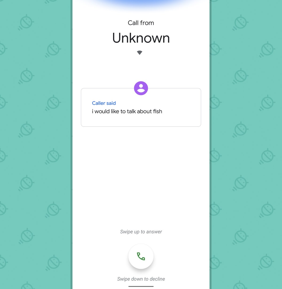 Pixel features: Call screen (incoming)