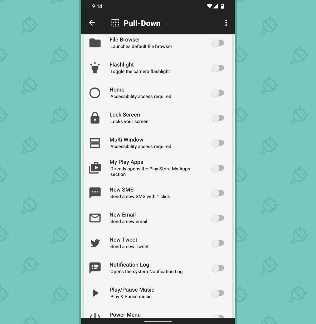 Android Quick Settings: Action tiles