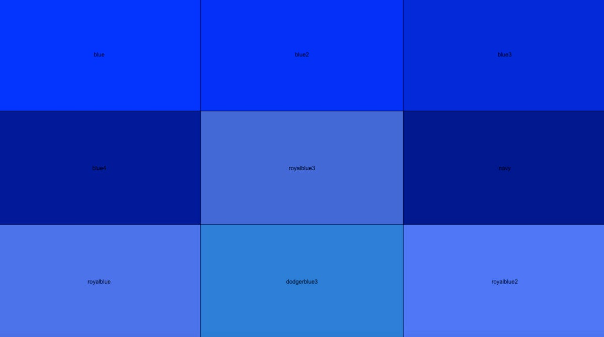 3 x 3 grid of different shades of blue