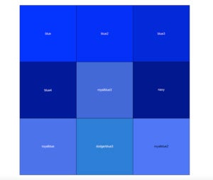3 x 3 grid of shades of blue, with some labels white but one label black.