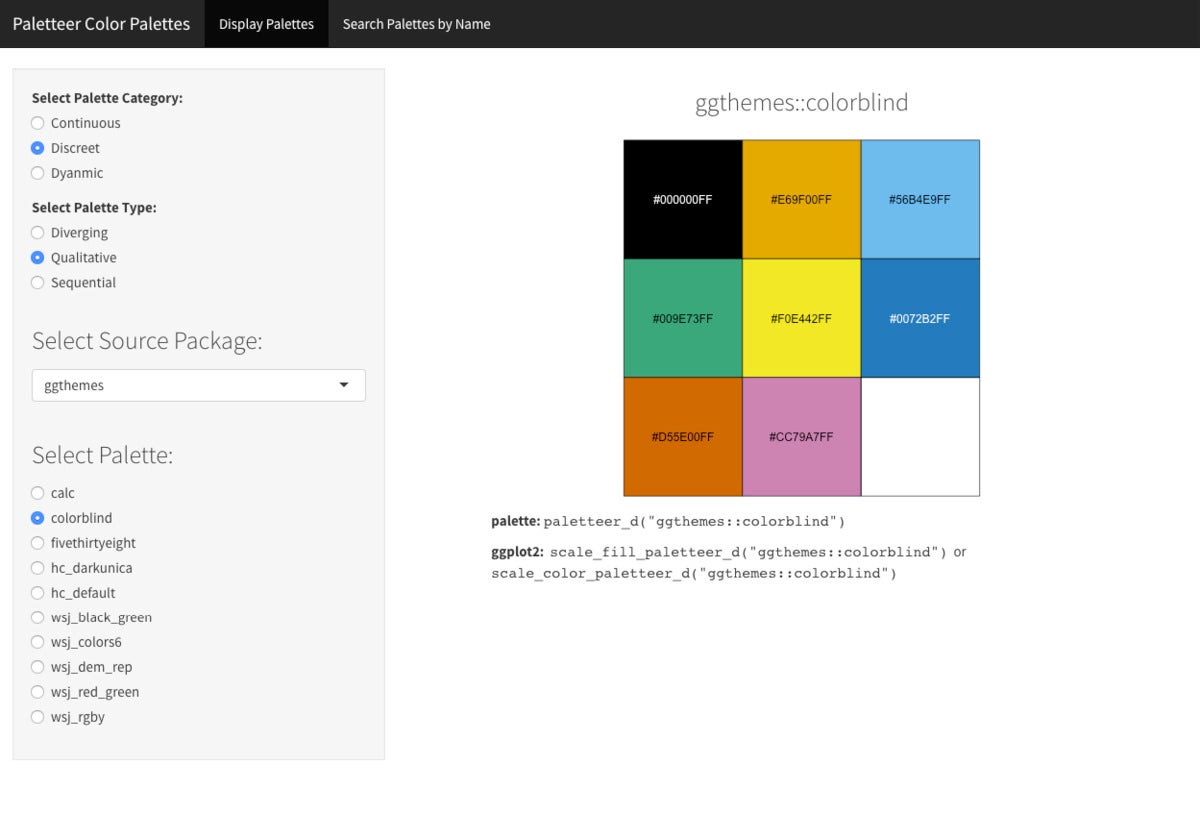 Screen shot showing a color palette with R code underneath explaining how to use the palette.