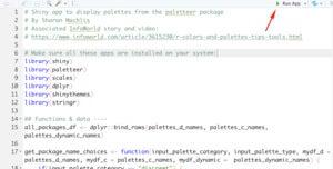 Screen shot showing Run App green triangle button within RStudio