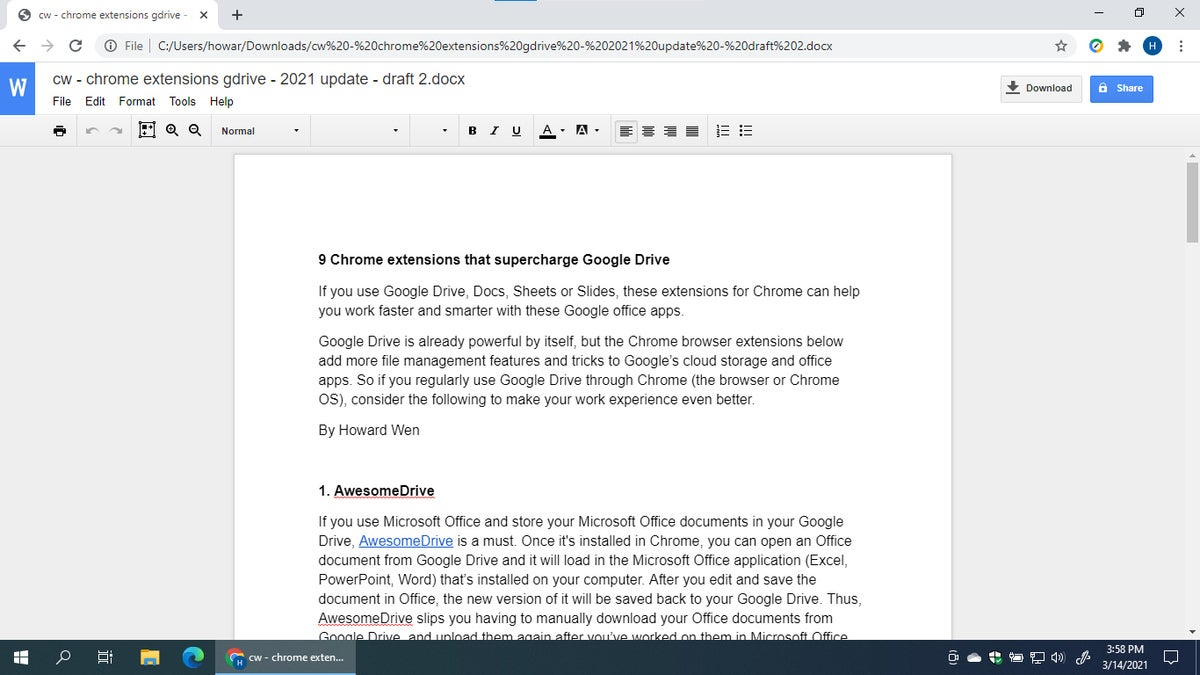 Chrome extensions are gdrive office editing