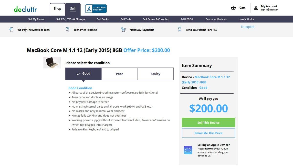 رتبه decluttr برای رتبه بندی 2015 Macbook 12 اینچی