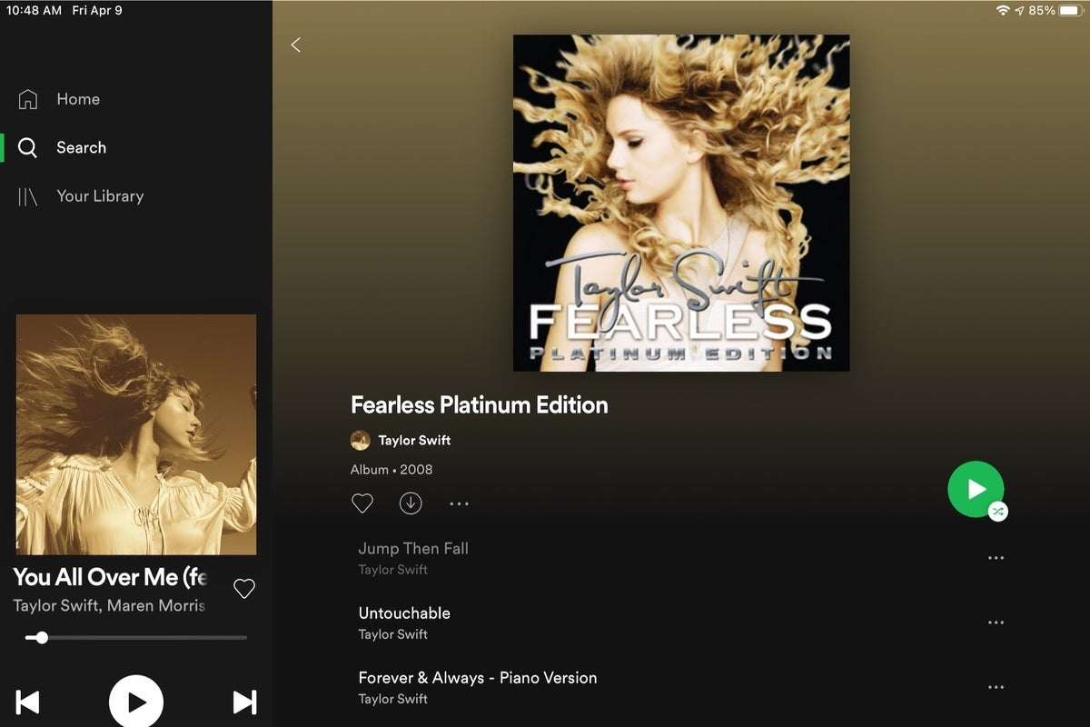 how to hide fearless songs on spotify