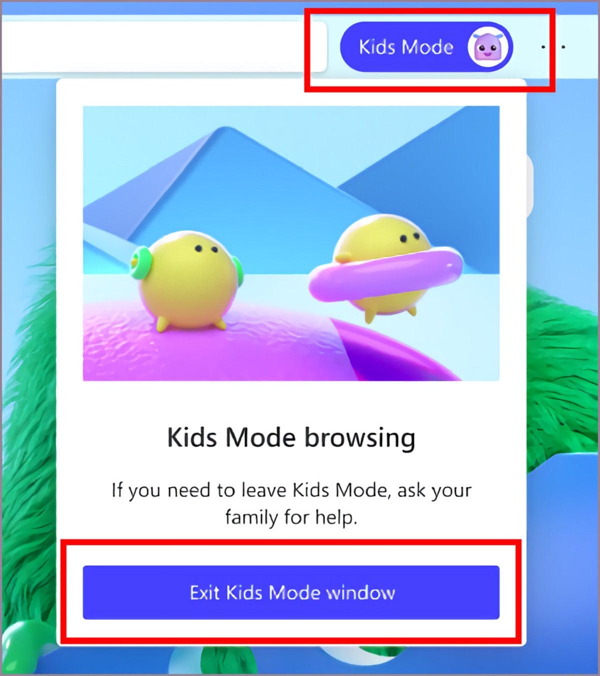 microsoft edge kids mode exit