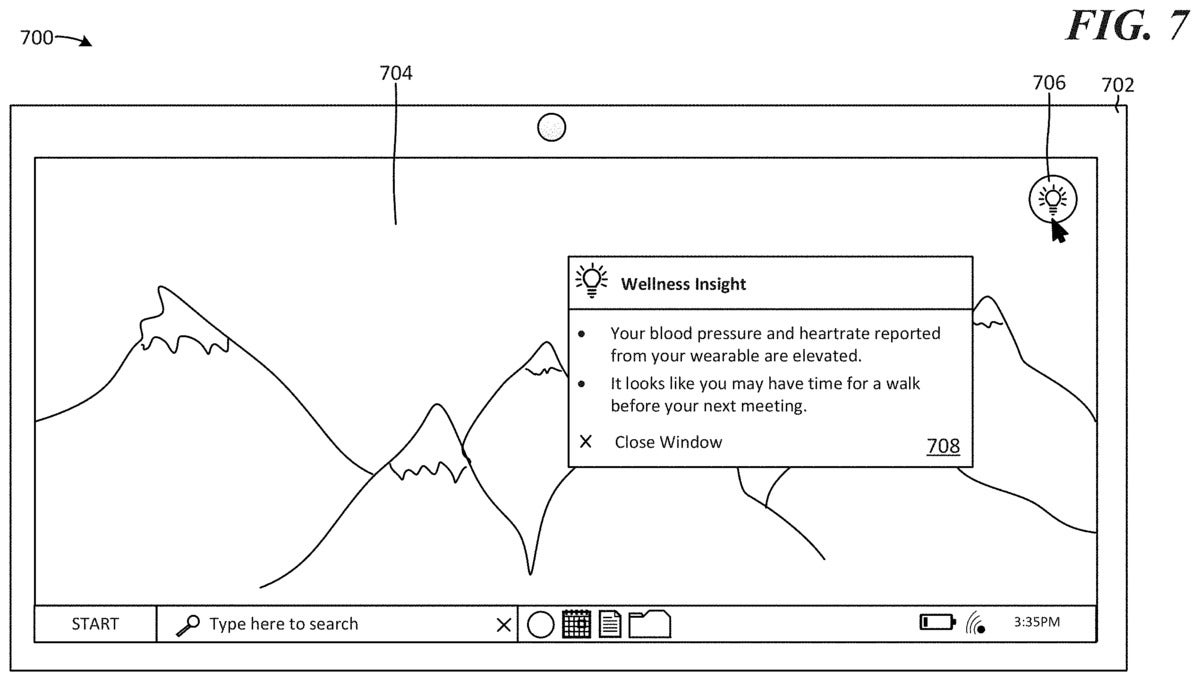microsoft wellness insights patent 2
