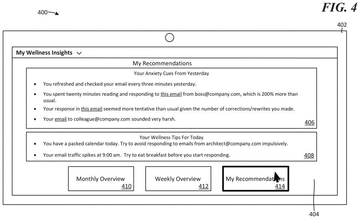 microsoft wellness insights patent 5