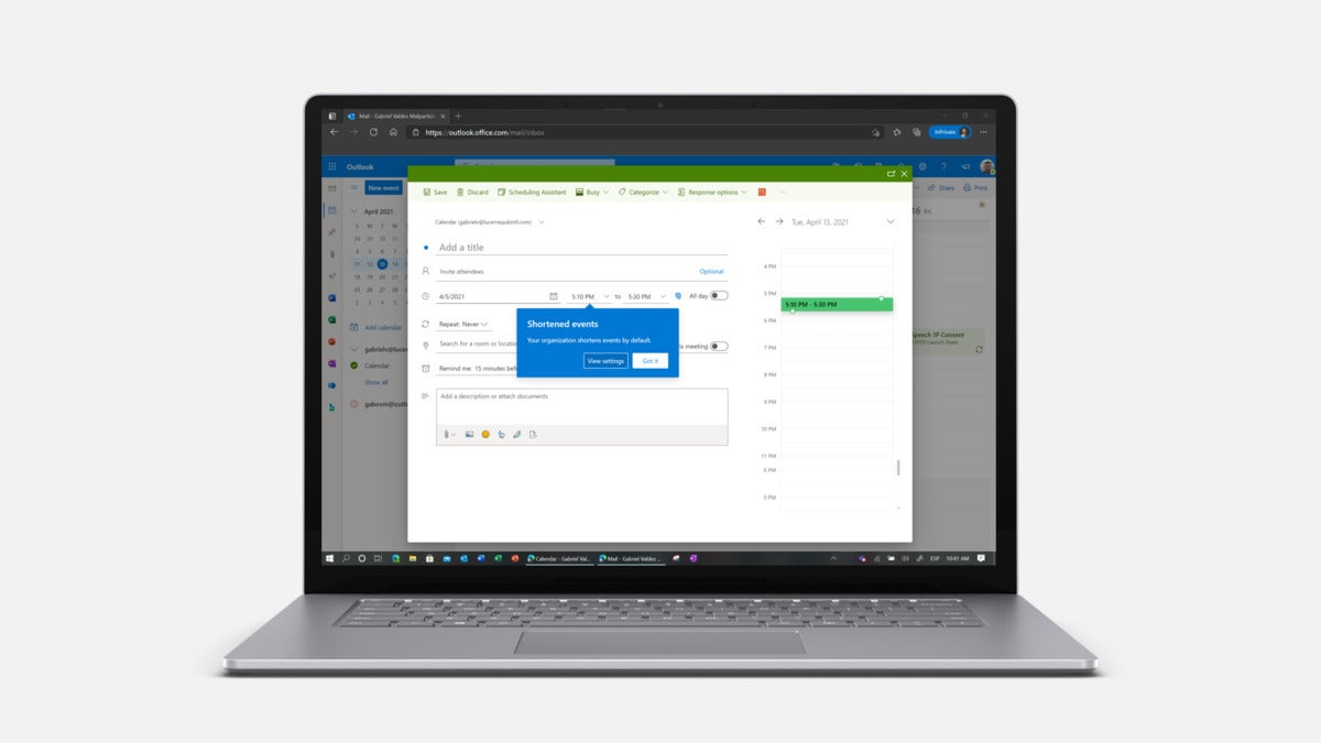 Microsoft Outlook org setting in device