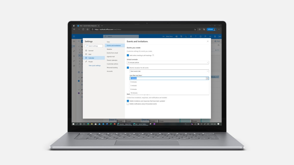 Microsoft Outlook  user level setting in frame
