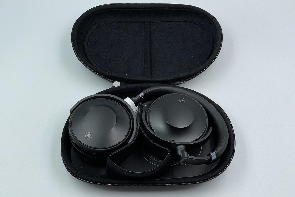 The headphones fold flat and the carrying case features a pocket to hold your cables and accessories