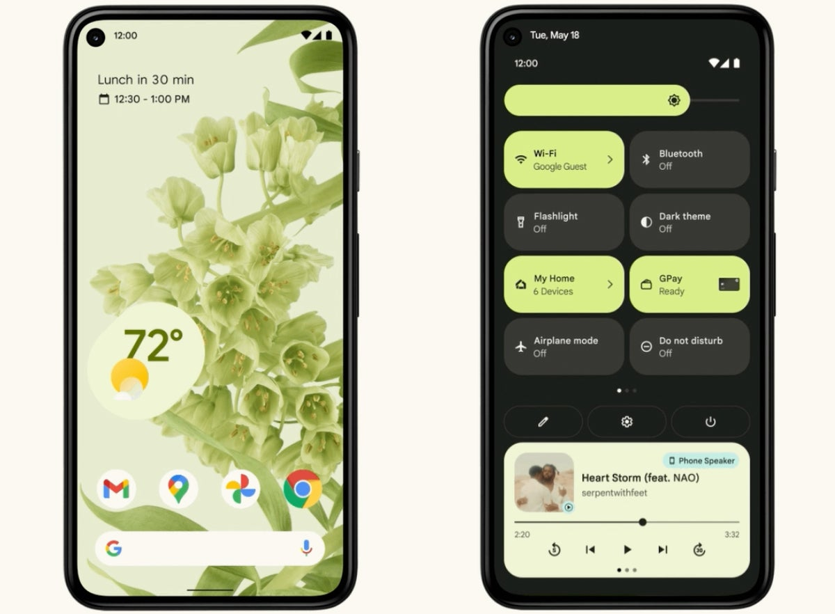 versiones de android android 12 material you